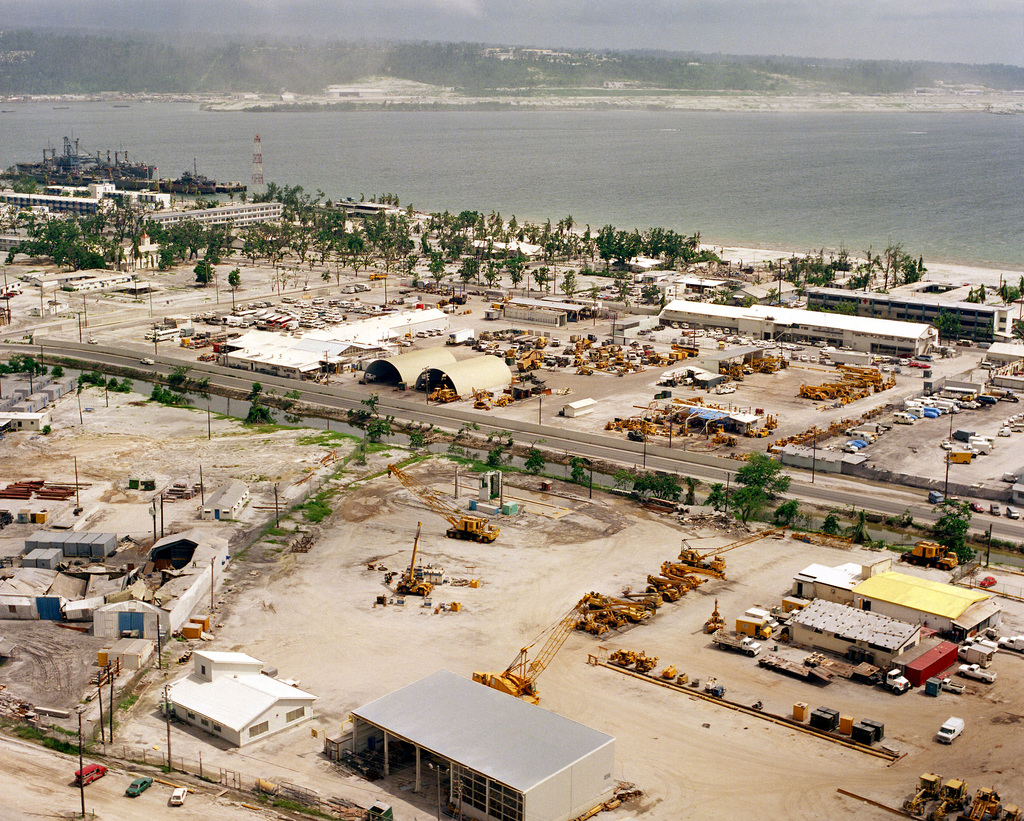 An aerial view of a portion of the naval station, showing some of the damage caused by the volcanic ash that fell following the eruption of Mount Pinatubo.
