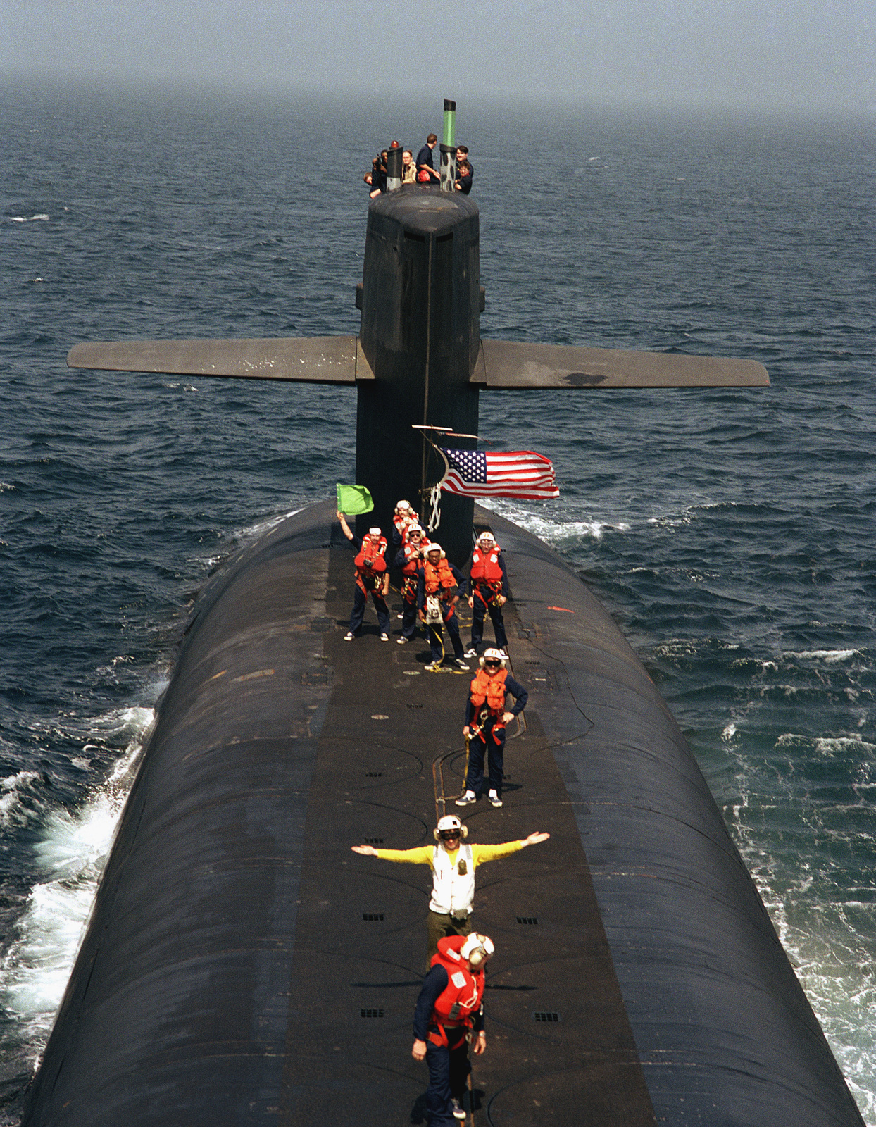 US Navy (USN) personnel on the deck of the USN Ohio Class