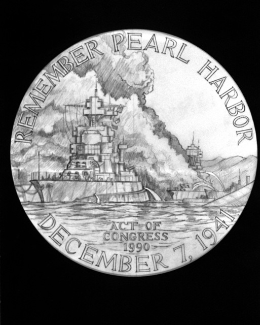A view of the proposed design for the observe side of the Pearl Harbor Commemorative Medal. Veterans and Navy Department or War Department civilians who were present at Pearl Harbor during the attack are eligible for the medal. Exact Date Shot Unknown
