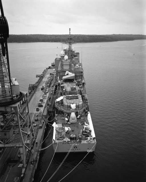 A stern view of the guided missile cruiser USS LAKE ERIE (CG 70) under construction at the Bath Iron Works Corp. shipyard. The LAKE ERIE is 70 percent complete