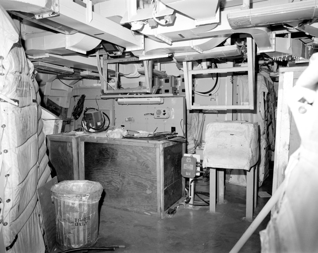 Aegis radar room No. 1, compartment 04-140-1-C, aboard the guided missile cruiser USS LAKE ERIE (CG 70). The LAKE ERIE, under construction at the Bath Iron Works Corp. shipyard, is 70 percent complete