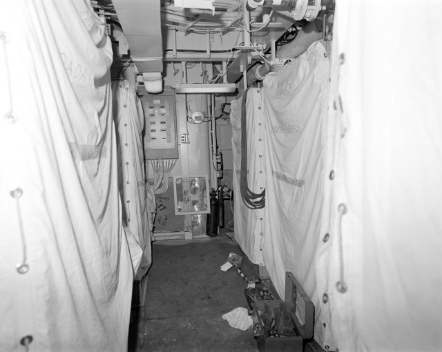 Aegis radar room No. 3, compartment 01-220-O-C, aboard the guided missile cruiser USS LAKE ERIE (CG 70). The LAKE ERIE, under construction at the Bath Iron Works Corp. shipyard, is 70 percent complete