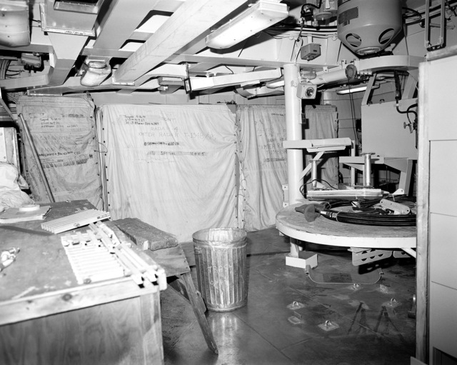 Aegis radar room No. 4, compartment 05-316-O-C, aboard the guided missile cruiser USS LAKE ERIE (CG 70). The LAKE ERIE, under construction at the Bath Iron Works Corp. shipyard, is 70 percent complete