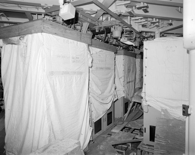 Aegis radar room No. 5, compartment 04-316-O-C, aboard the guided missile cruiser USS LAKE ERIE (CG 70). The LAKE ERIE, under construction at the Bath Iron Works Corp. shipyard, is 70 percent complete