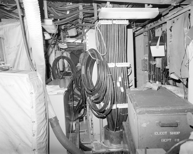 Interior communications and gyro room No. 1, compartment 2-127-O-C, aboard the guided missile cruiser USS LAKE ERIE (CG 70). The LAKE ERIE, under construction at the Bath Iron Works Corp. shipyard, is 70 percent complete