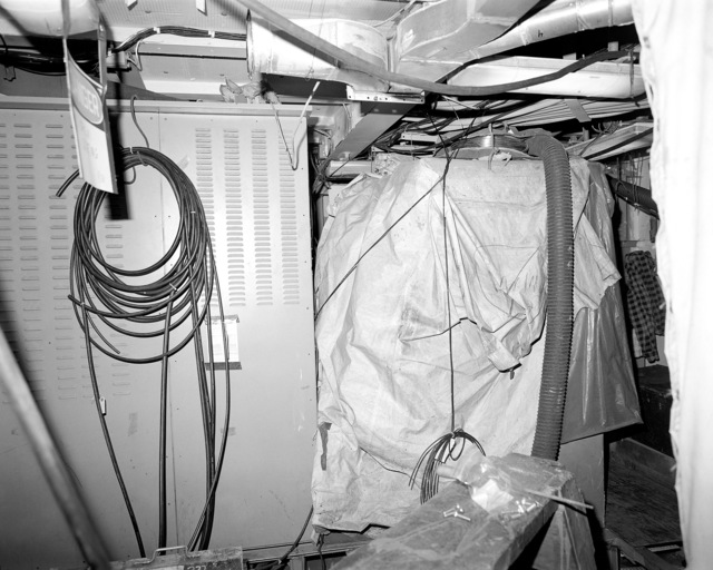 Interior communications and gyro room No. 2, compartment 3-382-O-Q, aboard the guided missile cruiser USS LAKE ERIE (CG 70). The LAKE ERIE, under construction at the Bath Iron Works Corp. shipyard, is 70 percent complete