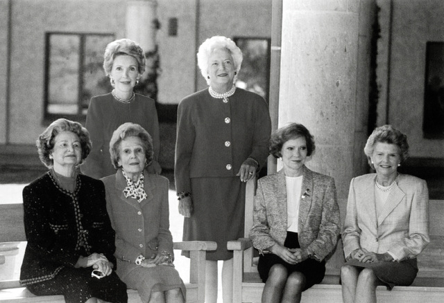 First Lady Barbara Bush, center, poses for a photograph with five of her predecessors at the opening of the Ronald Reagan Presidential Library. The former first ladies include, from left: Lady Bird Johnson, Pat Nixon, Rosslyn Carter and Betty Ford. Nancy Reagan is standing beside Mrs. Bush