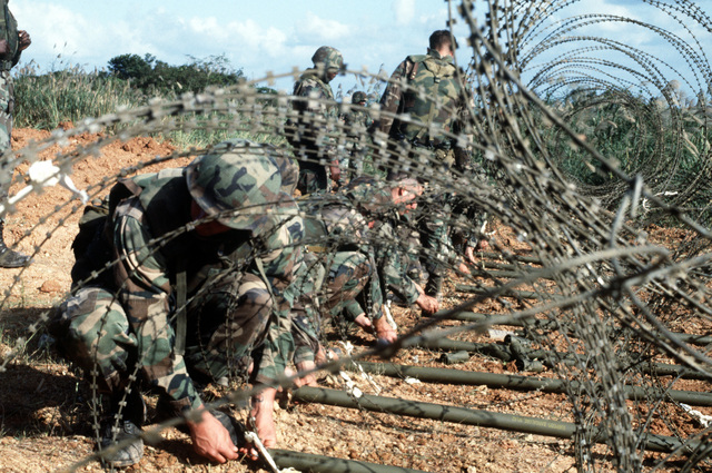 Members of the 3rd Combat Engineer Battalion (CEB), 3rd Marine Division, arm M-1A2 bangalore torpedo sections placed under a concertina barbed tape barricade during a demolitions training exercise