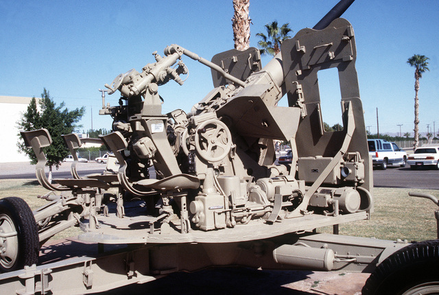 A close-up view of an Iraqi S-60 57mm automatic anti-aircraft gun captured by members of the 2nd Light Anti-Aircraft Missile (LAAM) Battalion at the Al Ahmed Jabar Airbase, Kuwait, on February 26, 1991, during Operation Desert Storm