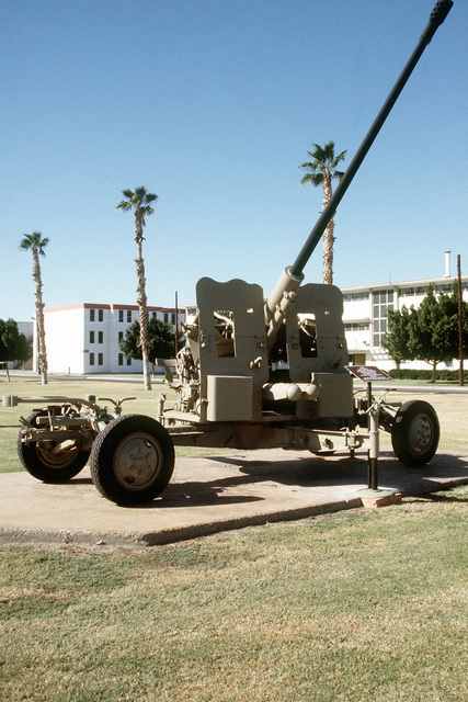 A view of an Iraqi S-60 57mm automatic anti-aircraft gun captured by members of the 2nd Light Anti-Aircraft Missile (LAAM) Battalion at the Al Ahmed Jabar Airbase, Kuwait, on February 26, 1991, during Operation Desert Storm