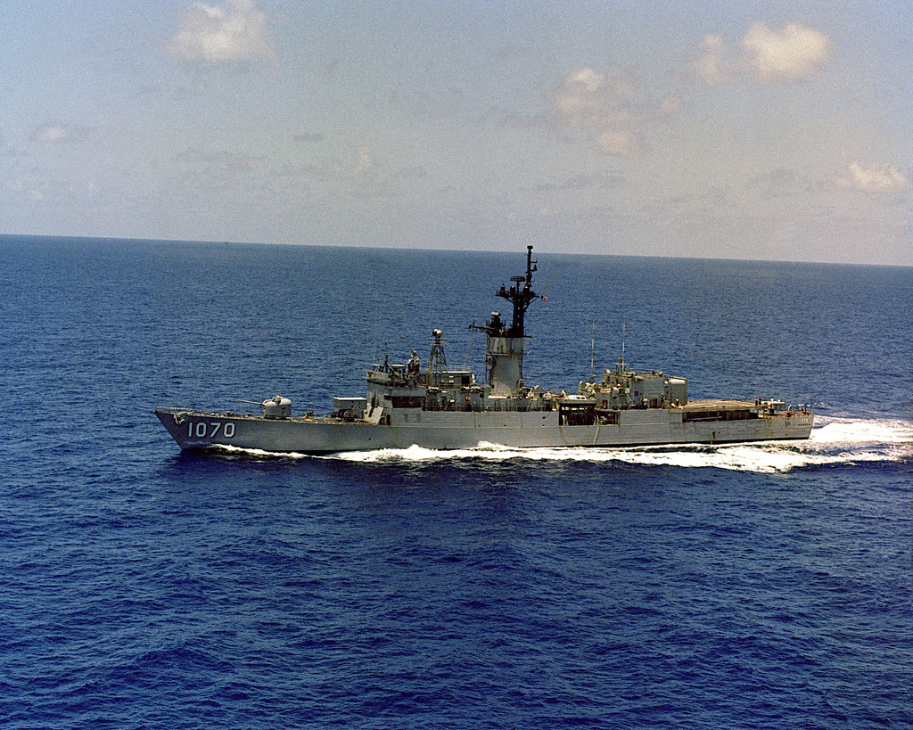 A port beam view of the frigate USS DOWNES (FF 1070) underway.