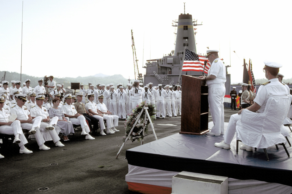 VADM Stanley R. Arthur, commander, U.S. Seventh Fleet, speaks to crew members and guests aboard the amphibious command ship USS BLUE RIDGE (LCC-19) during a ceremony marking the 50th anniversary of the Japanese attack on Pearl Harbor