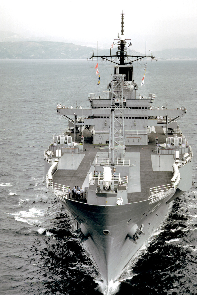 A bow view of the amphibious command ship USS BLUE RIDGE (LCC-19) underway after departing Naval Station, Subic Bay following refresher training