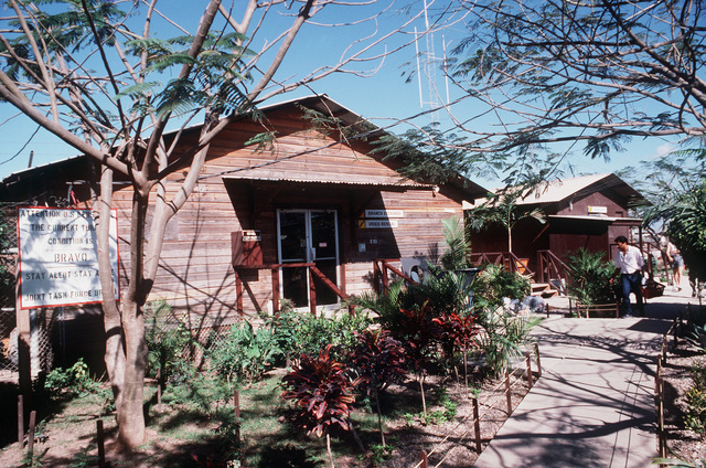 "A ""hootch"" or hut serves as the base exchange"