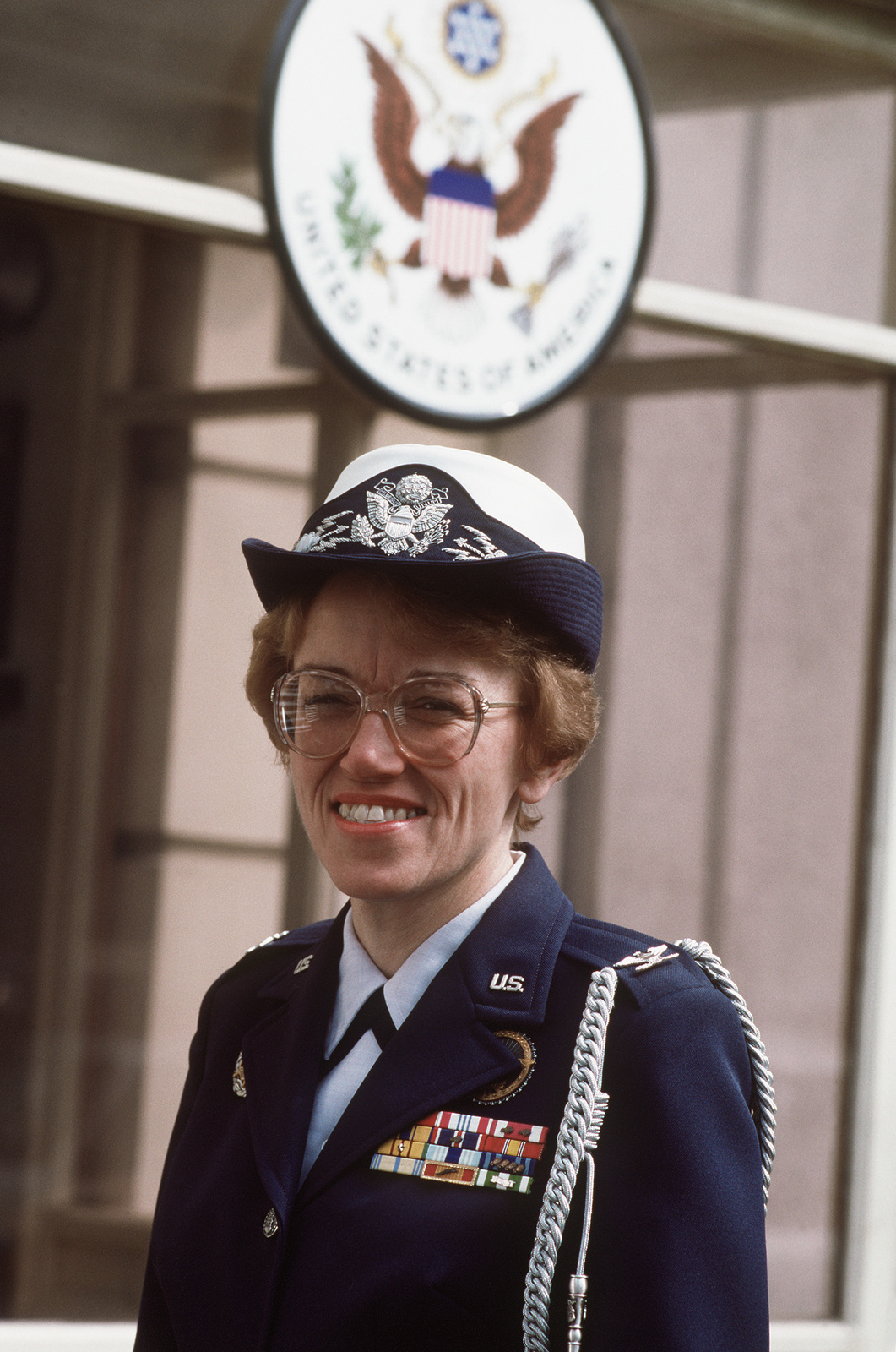 COL Ruth Anderson, the U.S. defense and air attache to Hungary, poses for a photograph outside the American Embassy