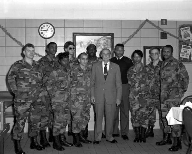 Following a lunchtime reception, U.S. Sen. Strom Thurmond of South Carolina stands with some of his constituents and several soldiers recognized for superior performance during 1990. The personnel are, from left: SPEC. Keith Bennett, PVT. Anthony Sims, PVT. Karen McDaniel, SGT. Joseph Gates, STAFF SGT. Luis Martinez, STAFF SGT. Ivey Jarvis, Sen. Thurmond, STAFF SGT. Maurice Mitchell, SPEC. Winifred Wilson, SGT. Patrick Carr and STAFF SGT. Michael Bosier