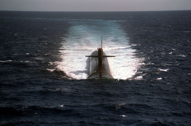 A bow view of the U S  Navy's newest nuclear-powered