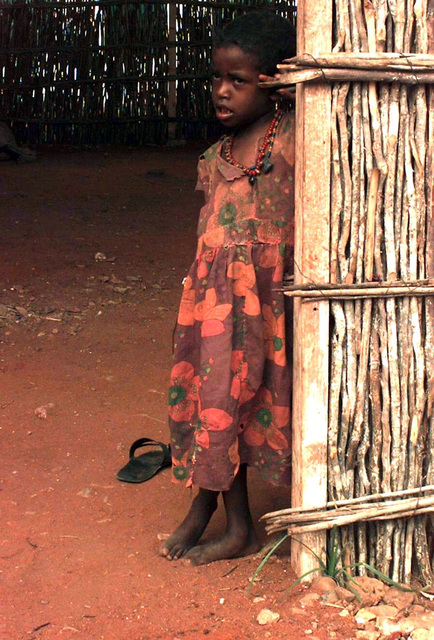 Straight on, medium close-up of a Somali girl, approximately six or seven years old. She wears a flowered dress and leans against the entrance to a bamboo hut with a dirt floor. US Congressmen (not shown) visited this village and feeding center to see conditions firsthand