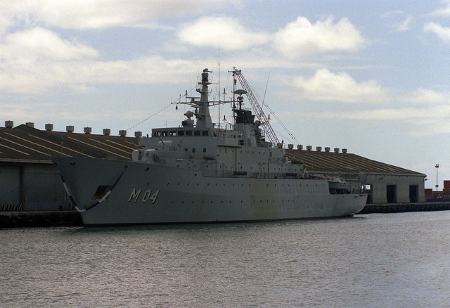 The Swedish minelayer CARLSKRONA (M-04) lies tied up during a visit to the naval station. The CARLSKRONA is also used as a midshipmen's training ship.