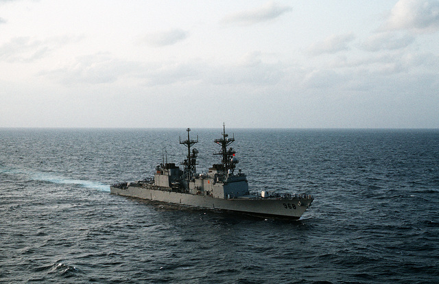 The destroyer USS ARTHUR W. RADFORD (DD-968) sails off the coast of Saudi Arabia during Operation Red Reef III