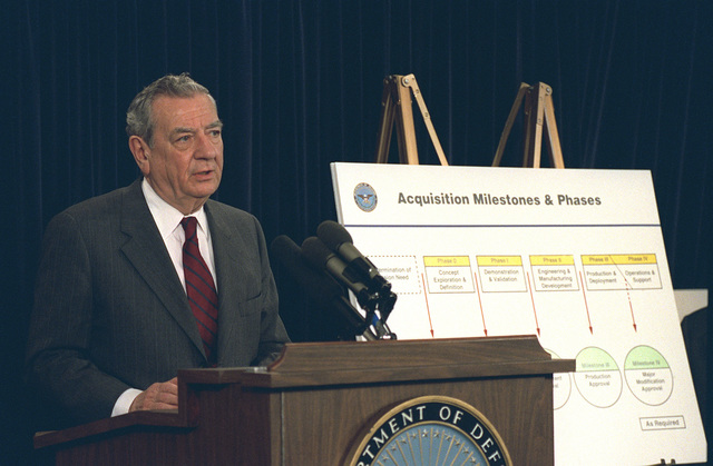 US Deputy Secretary of Defense Donald Atwood, responds to question during an Annual Budget Briefing, held inside the Pentagon, in Washington, District of Columbia (DC). OSD PACKAGE #D-1998-OSD-92-010027