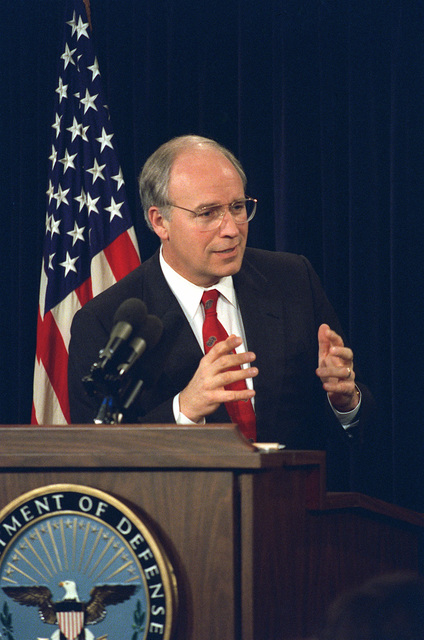 US Secretary of Defense Richard B. Cheney, responds to question during an Annual Budget Briefing, held inside the Pentagon, in Washington, District of Columbia (DC). OSD PACKAGE #D-1998-OSD-92-010027