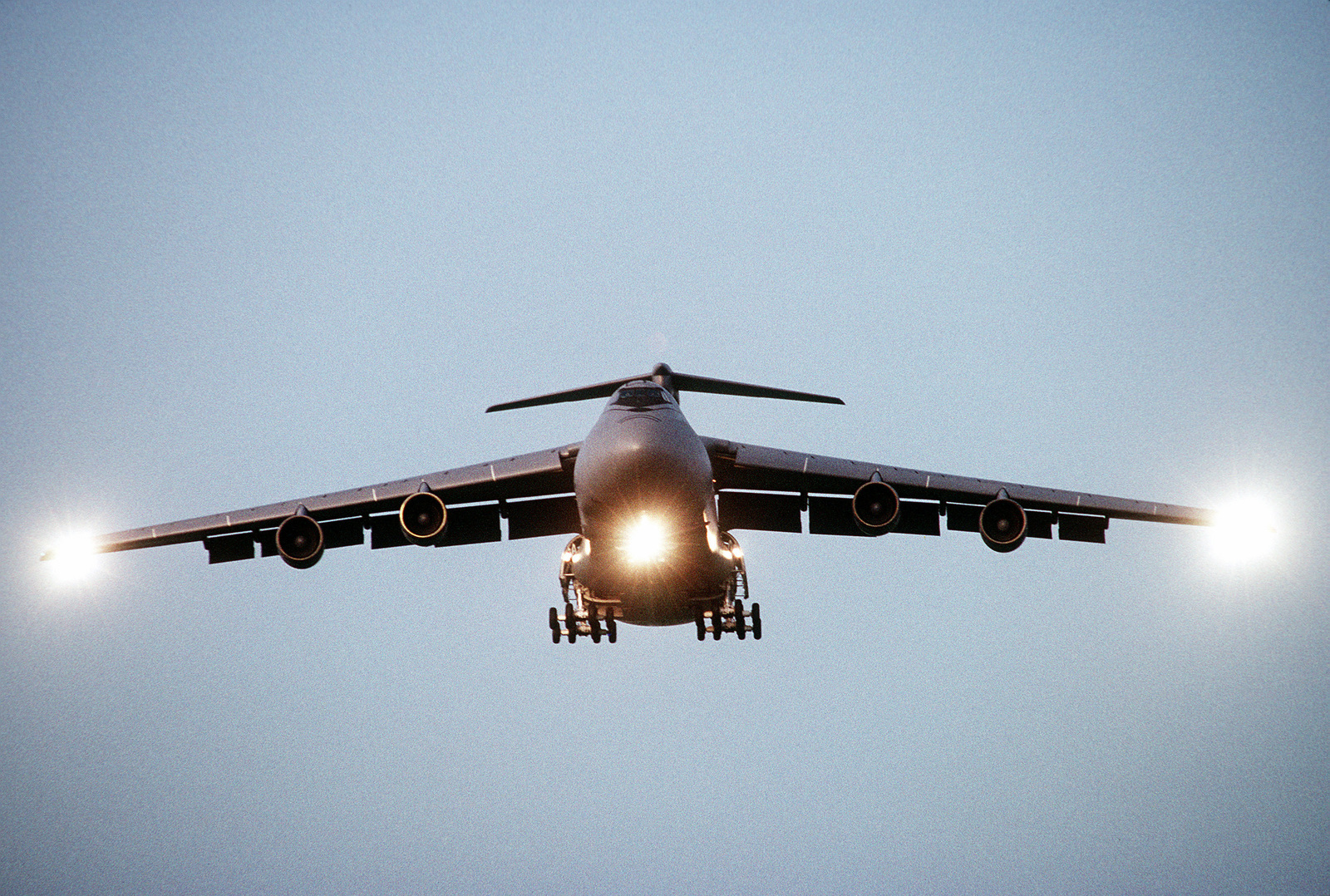 A front view of a 60th Airlift Wing C-5 Galaxy transport, with