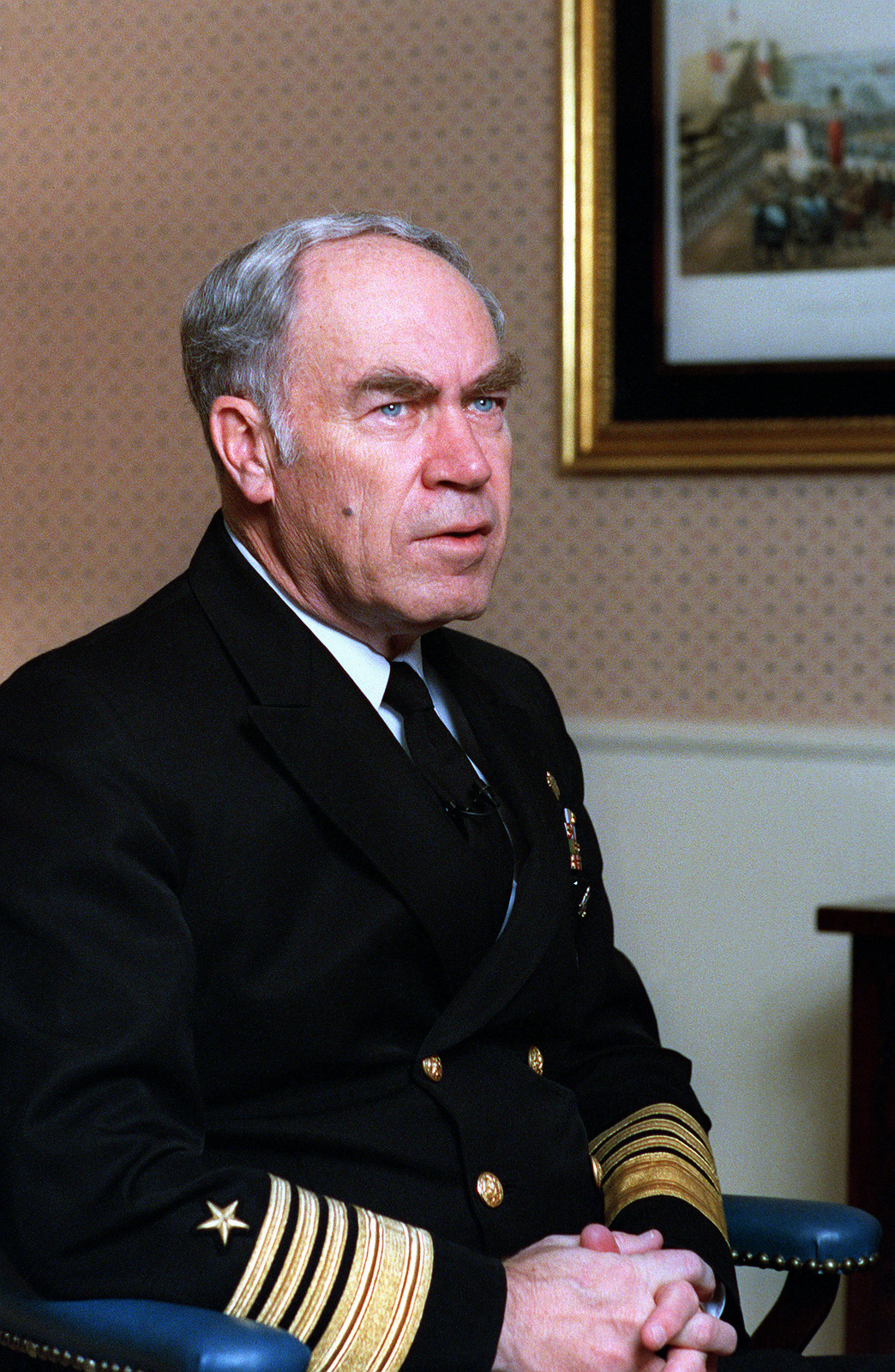 ADM Frank B. Kelso II, chief of naval operations, answers questions during an interview at the Pentagon