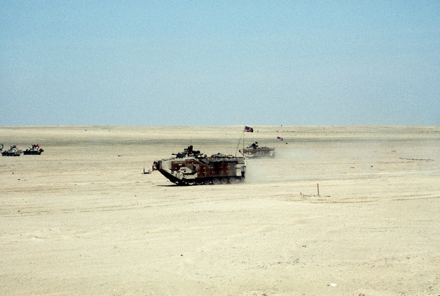 AAVP-7A1 amphibious assault vehicles of the 22nd Marine Expeditionary Unit (Special Operations Capable) move out across the desert during Exercise Eager Mace 92-1, the first major U.S./Kuwaiti combined service exercise since the end of Operation Desert Storm