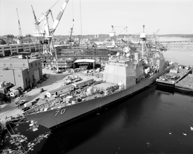 A port bow view of the guided missile cruiser LAKE ERIE (CG-70) at 80 percent completion of construction
