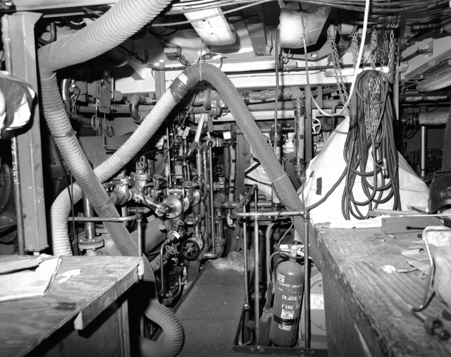 Auxiliary machinery room Number 2 on the guided missile curiser LAKE ERIE (CG 70) at 80 percent completion of construction