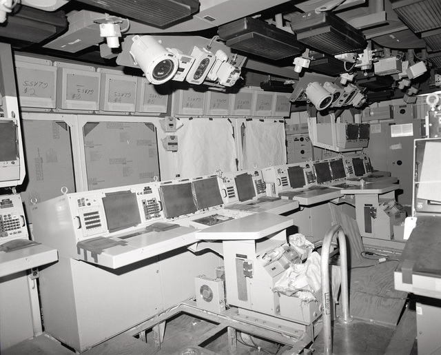 The combat information center on the guided missile cruiser LAKE ERIE (CG 70) at 80 percent completion of construction