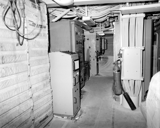 The internal communication and gyroscope room No. 1 on the guided missile cruiser LAKE ERIE (CG-70) at 80 percent completion of construction