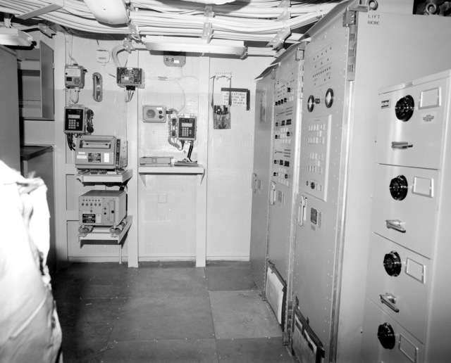 The internal communication and gyroscope room No. 2 on the guided missile cruiser LAKE ERIE (CG-70) at 80 percent completion of construction