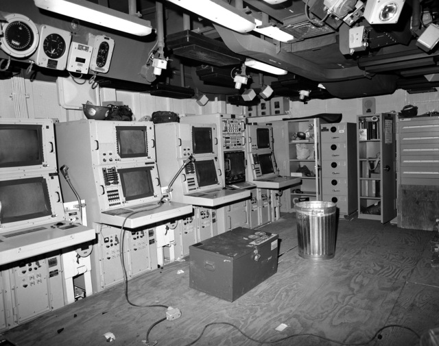 The sonar control room on the guided missile curiser LAKE ERIE (CG 70) at 80 percent completion of construction