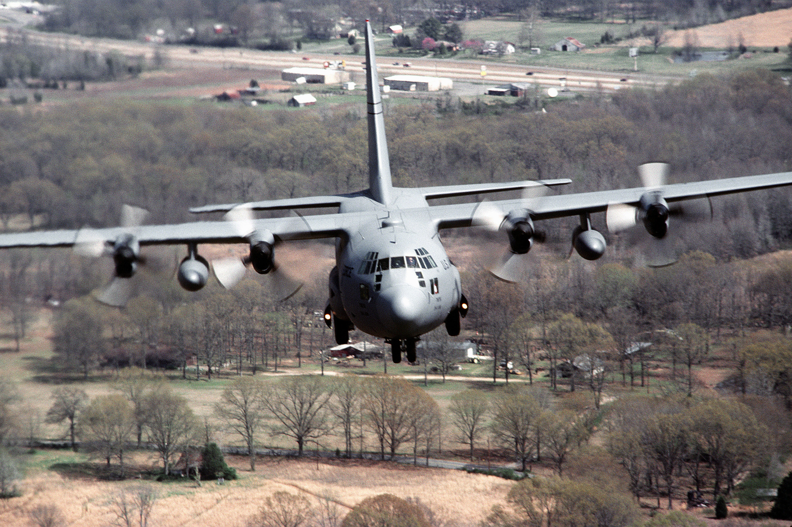 Air to Air front view of a 314th Airlift Wing, Air Mobility Command, C-130 Hercules as it flies the approach to Little Rock Air Force Base. Exact Date Shot Unknown