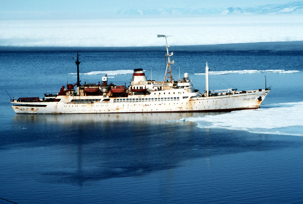 A starboard beam view of the Soviet civilian research ship PROFESSOR ZUBOV in McMurdo Sound