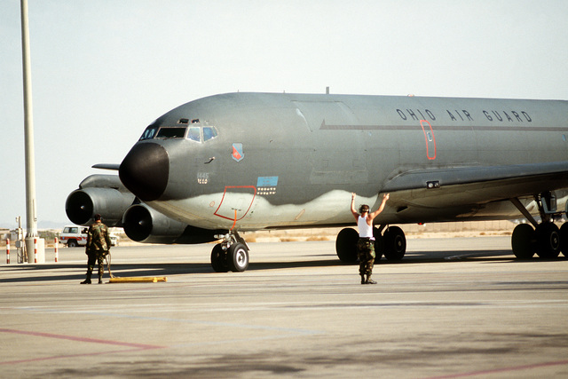 A KC-135E Stratotanker aircraft of the Ohio Air National Guard's 160th Air Refueling Group arrives back at an air base after a mission during Operation Desert Storm.