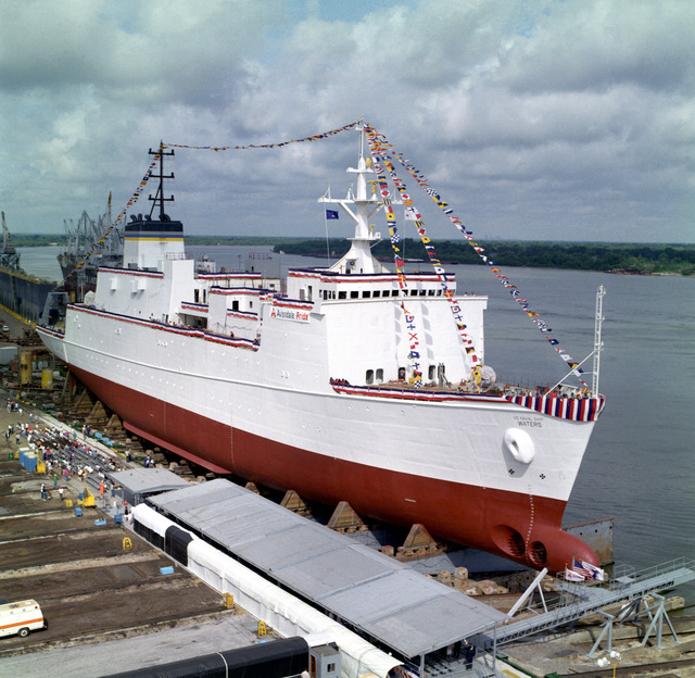 A starboard bow view of the surveying ship USNS WATERS (T-AGS-45) laid up in the Avondale Industries, Inc. shipyards