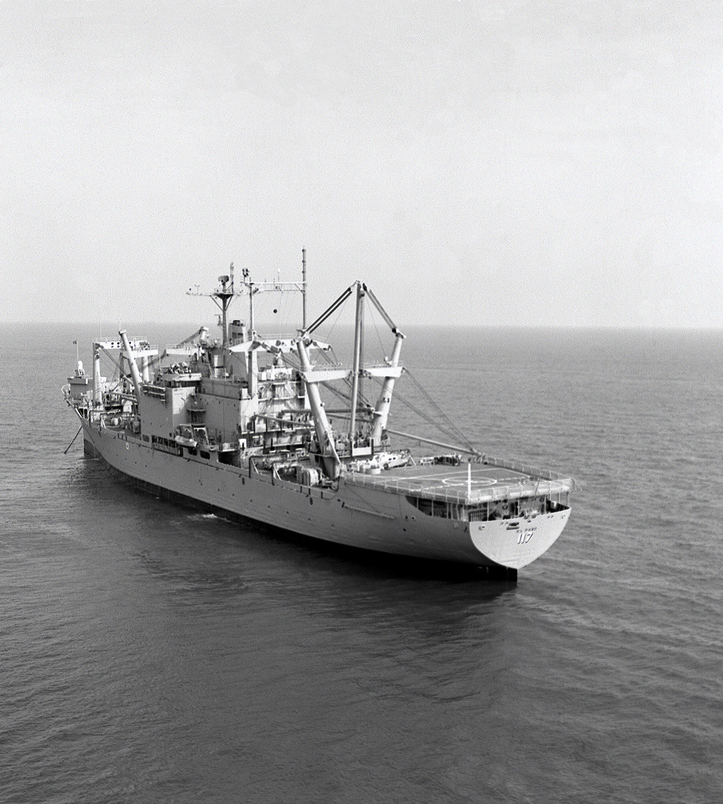 A port quarter view of the amphibious cargo ship USS EL PASO (LKA-117) at anchor off the Virginia Capes