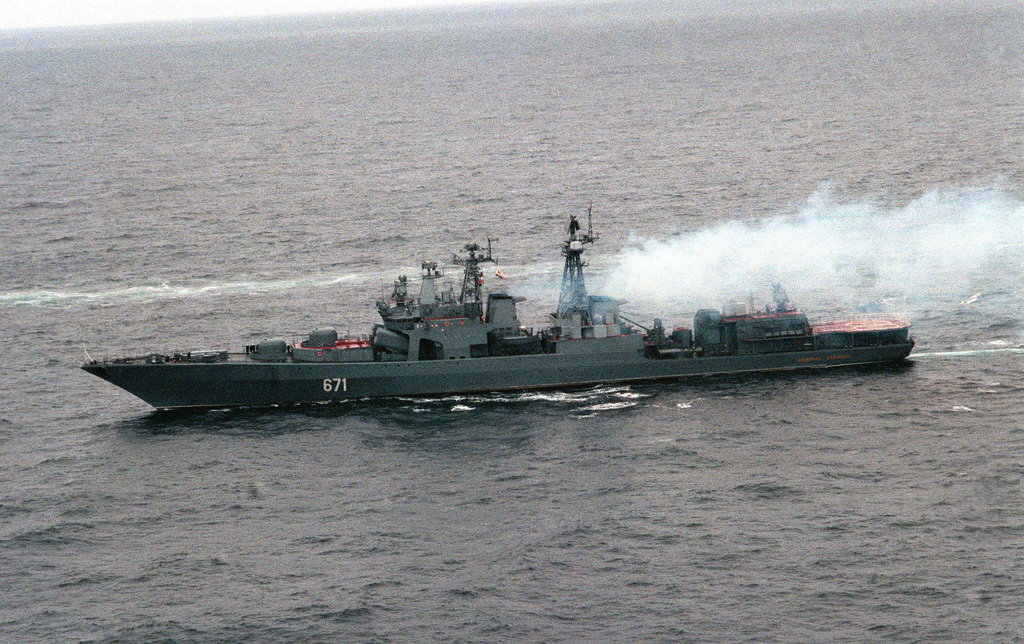A port view of the Russian guided missile destroyer ADMIRAL LEVCHENKO underway during exercises with visiting U.S. Navy ships. The guided missile cruiser USS YORKTOWN (CG-48) and the destroyer USS O'BANNON (DD-987) are visiting Severomorsk Naval Base as part of an ongoing exchange between the navies of the United States and the Commonwealth of Independent States