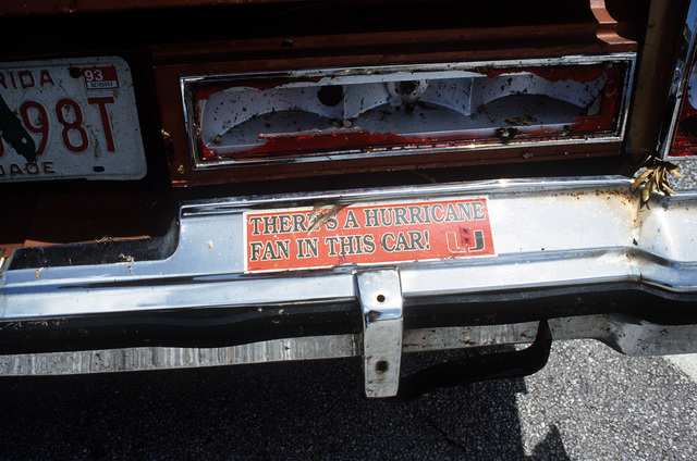 A bumper sticker on a car in the aftermath of Hurricane Andrew, which struck the area on August 24th