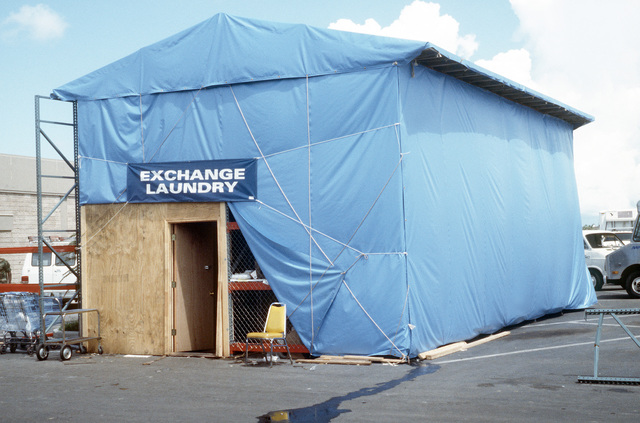 A temporary structure serves as the Army and Air Force Exchange Service (AAFES) temporary laundry facility after the permanent structure was demolished by Hurricane Andrew, which struck the region on August 24th
