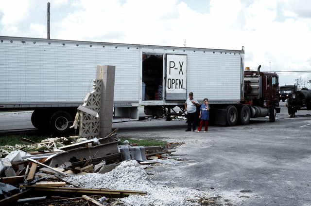 A trailer truck functions as a temporary base exchange after the regular exchange was destroyed by Hurricane Andrew, which struck the region on August 24th
