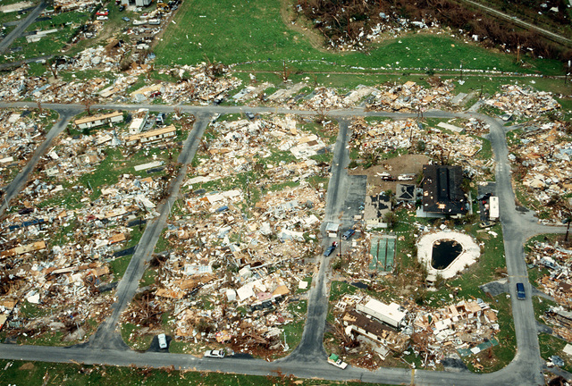 An aerial view of devastation caused by Hurricane Andrew, which struck the area on August 24th