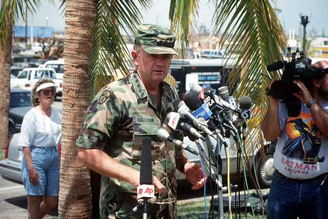 Army CHIEF of STAFF GEN. Gordon R. Sullivan speaks to press and local residents outside Homestead City Hall following his arrival to inspect relief efforts set up in the aftermath of Hurricane Andrew. The storm struck the region on August 24th