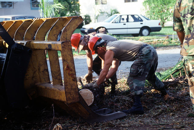 Members of the 202nd Red Horse Civil Engineering Squadron roll a log onto a front end loader as they clean up debris in the aftermath of Hurricane Andrew, which struck the area on August 24th