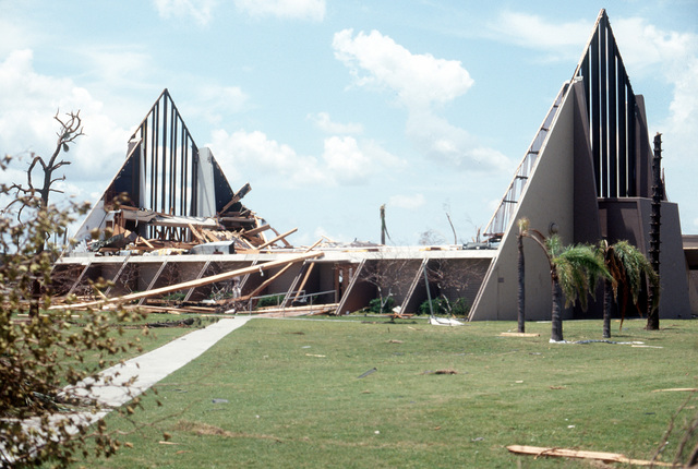 Only a portion of the base chapel remains standing in the aftermath of Hurricane Andrew, which struck the area on August 24th