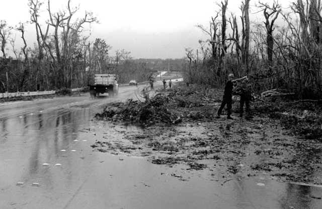 Members of Naval Mobile Construction Battalion 133 (NMCB-133) take part in cleanup efforts on Route 6, Nimitz Hill Road, in the aftermath of Typhoon Omar, which swept through the area on August 28th