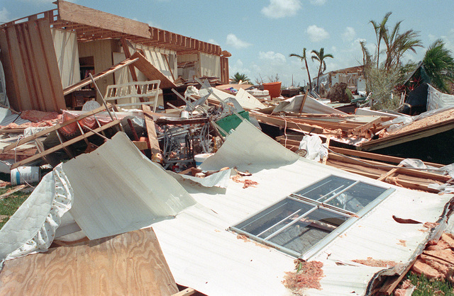 A view of destroyed buildings in the aftermath of Hurricane Andrew